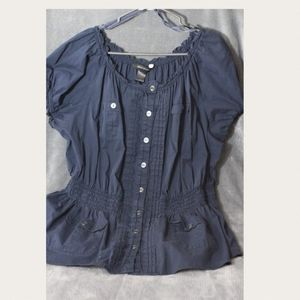 Ashley Stewart Military Style Button Top